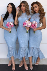 Mermaid Jewel Cap Sleeves Hi-Low Lace Bridesmaid Dress OHS063 | Cathyprom