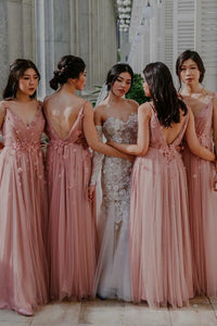 A-Line V-Neck Backless Floor-Length Pleated Bridesmaid Dress with Flowers OHS082 | Cathyprom