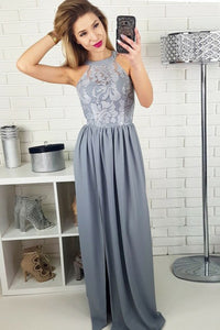 A-Line Jewel Floor-Length Grey Chiffon Prom Dress with Lace OHC052 | Cathyprom