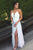 A-line Halter Floor Length Split White Backless Prom Dress with Pleats P78 | Cathyprom