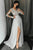 A-Line V-Neck Long Sleeves Floor-Length Grey Prom Dress with Appliques OHC008 | Cathyprom