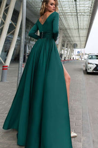A-Line Deep V-Neck Long Sleeves Dark Green Sweep Train Prom Dress with Split LPD84 | Cathyprom