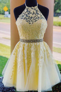 Modest Halter Criss-Cross Back Homecoming Dress with Appliques Beading OHM057 | Cathyprom