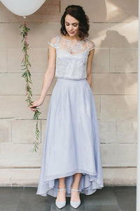 A-Line Bateau Cap Sleeves Hi-Low Chiffon Bridesmaid Dress with Lace OHS052 | Cathyprom