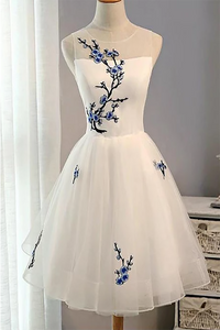 Cute Applique White Short Homecoming Prom Dresses Cheap Sweet 16 Dresses 2020 HD1