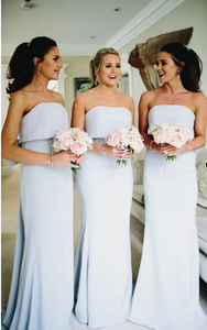 Long A Line With Trailing Chiffon Straight Across Sexy Bridesmaid Dresses BD1|CathyProm