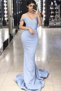 Mermaid Off-the-Shoulder Sweep Train Blue Prom Dress with Appliques OHC078 | Cathyprom