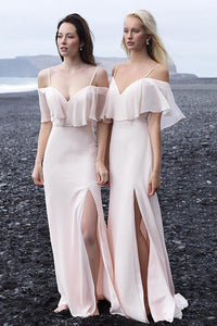 Charming A Line Spaghetti Straps Floor Length Half Sleeves Slit Long Chiffon Bridesmaid Dresses with Ruffles OHS115 | Cathyprom