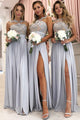 A-Line Jewel Floor-Length Bridesmaid Dress with Appliques Split OHS076 | Cathyprom
