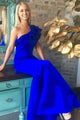 Mermaid One-Shoulder Floor-Length Royal Blue Prom Dress with Ruffles D16