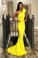 Mermaid One-Shoulder Sweep Train Yellow Prom Dress with Ruffles PD10