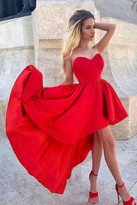 High Low Sweetheart Red Homecoming Dresses with Ruffles OHM028 | Cathyprom