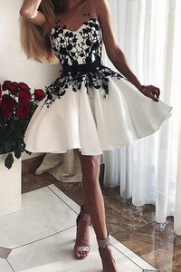 Sweetheart White Short Homecoming Dresses with Appliques OHM062 | Cathyprom