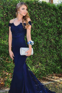 Mermaid Off-the-Shoulder Sweep Train Navy Blue Prom Dress with Appliques OHC076 | Cathyprom