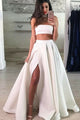 Two Piece Strapless Floor-Length White Lace Prom Dress with Split L34 | Cathyprom