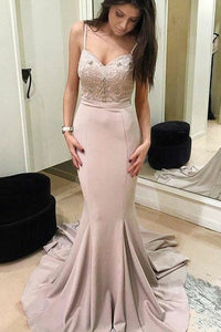 Mermaid Spaghetti Straps Sweep Train Blush Prom Dress with Beading OHC047 | Cathyprom