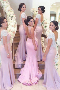 Mermaid Bateau Backless Sweep Train Bridesmaid Dress with Beading OHS040 | Cathyprom