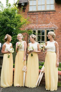 A-Line Round Neck Floor-Length Sleeveless Bridesmaid Dress with Lace OHS092 | Cathyprom