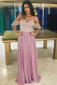 A-Line Spaghetti Straps Floor-Length Chiffon Short Sleeves Prom Dress with Lace OHC170 | Cathyprom