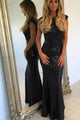 Mermaid Bateau Backless Floor-Length Black Sequined Prom Dress OHC055 | Cathyprom