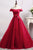 A-Line Off-the-Shoulder Floor-Length Dark Red Tulle Prom Dress Q73