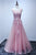 A-line Scoop Floor-length Pink Tulle Open Back Prom Dress with Appliques P47