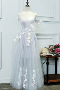 A-Line Crew Floor-Length Lavender Tulle Prom Dress with Appliques Bow Q77