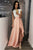 A-Line Crew Cap Sleeves Split-Side Pink Satin Prom Dress with Lace P7