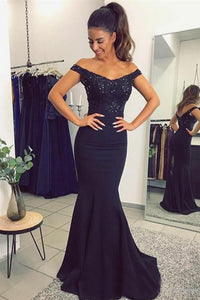 Mermaid Off-the-Shoulder Sweep Train Navy Blue Prom Dress with Beading Appliques L58 | Cathyprom