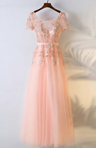 A-Line Crew Short Sleeves Floor-Length Coral Tulle Prom Dress with Appliques Q25