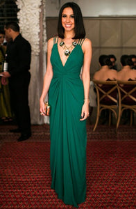 A-Line Deep V-Neck Floor-Length Green Chiffon Open Back Prom Dress Q35
