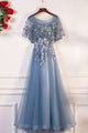 A-Line Square Floor-Length Dark Blue Tulle Prom Dress with Appliques Ruffles Q85