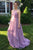 A-Line Jewel Sweep Train Lilac Chiffon Sleeveless Prom Dress with Pleats Q51