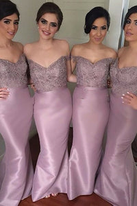 Mermaid Off-the-Shoulder Backless Lilac Bridesmaid Dress with Lace Beading OHS029 | Cathyprom