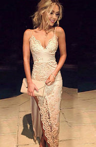 Mermaid Spaghetti Straps Ivory Stretch Satin Prom Dress with Appliques P6