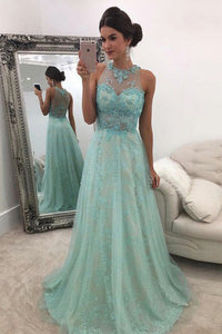 A-Line Jewel Floor-Length Blue Tulle Prom Dress with Appliques OHC071 | Cathyprom