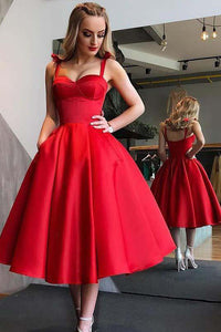 Red Homecoming Dresses A Line Vintage Tea-length Prom Dress Sexy Party Dress OHM148