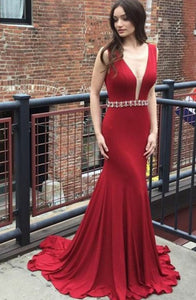 Mermaid Deep V-Neck Sweep Train Red Stretch Satin Backless Beaded Prom Dress Q12
