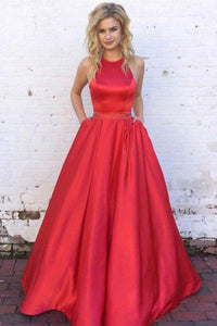 A-Line Jewel Sweep Train Red Satin Sleeveless Prom Dress with Beading Pockets L21