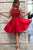 A Line Stylish Halter Red Short Homecoming Dresses with Beading OHM013 | Cathyprom