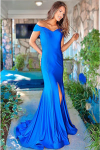 Mermaid Off-the-Shoulder Sweep Train Royal Blue Prom Dress with Split PD11