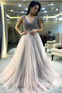 A-Line V-Neck Sweep Train Light Grey Prom Dress with Appliques Beading D5
