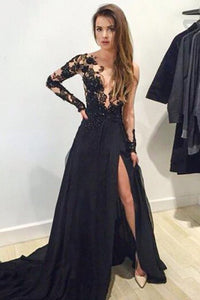 A-Line V-Neck Sweep Train Long Sleeves Split-Side Black Prom Dress with Appliques P38