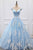 Ball Gown Off-the-Shouklder Court Train Blue Tulle Prom Dress with Appliques Q74