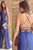 Sheath Blue Spaghetti Straps Criss-Cross Straps Split Floor-length Prom Dress P64