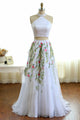 Two Piece High Neck Sweep Train Ivory Tulle Prom Dress with Appliques Q71
