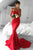 Mermaid Sweetheart Sweep Train Red Sleeveless Satin Prom Dress P13