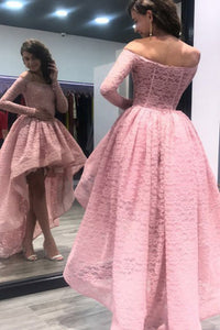 A-Line Off-the-Shoulder High Low Asymmetrical Pink Long Sleeves Lace Prom Dress L22