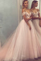 A-Line Off-the-Shoulder Court Train Pearl Pink Tulle Prom Dress with Beading Q64