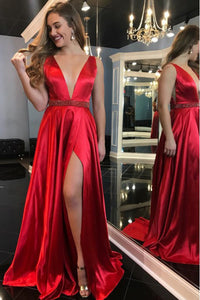 A-Line Deep V-Neck Sweep Train Red Prom Dress with Beading Split LPD91 | Cathyprom